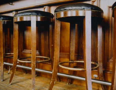 Bar and bar stool made of wood